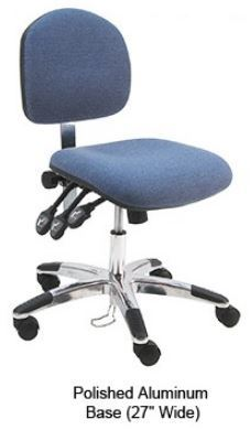 Lincoln Fabric ESD Office Desk Ht. Chair 3 lever Control, Aluminum Base, and ESD Casters #LAS-DF-XF